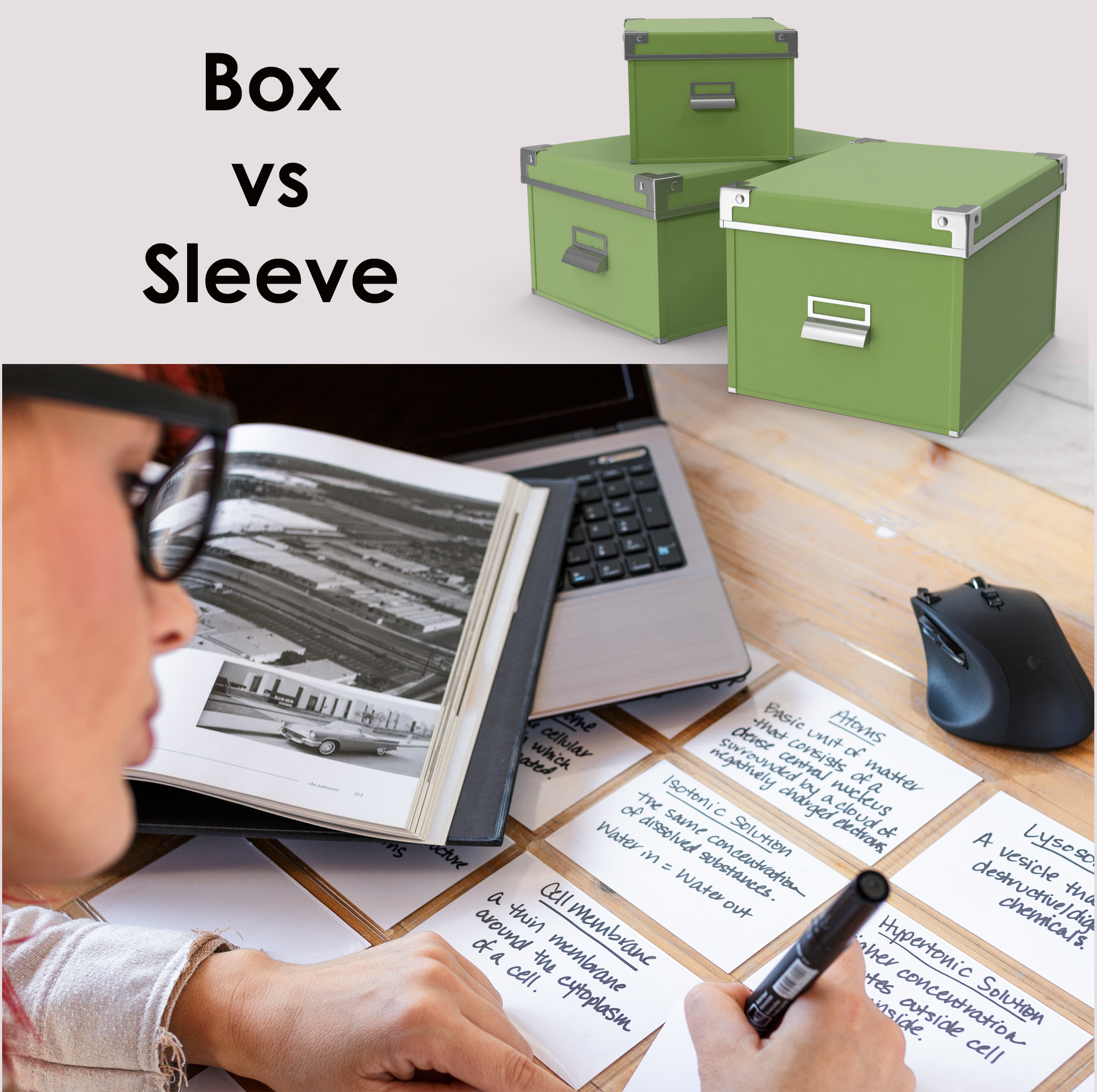 Index card box vs Index card sleeve
