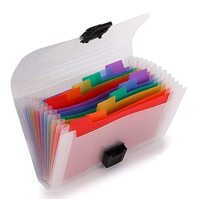 Clear Plastic Accordion Index Card Holder File Folder
