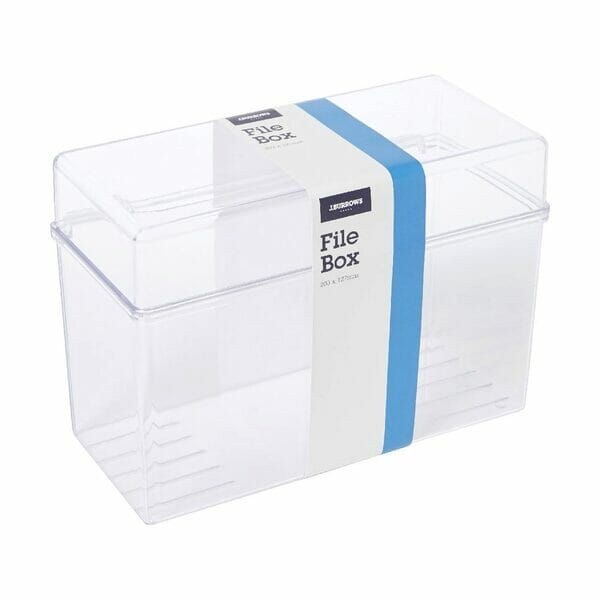 Clear Index Card File Box