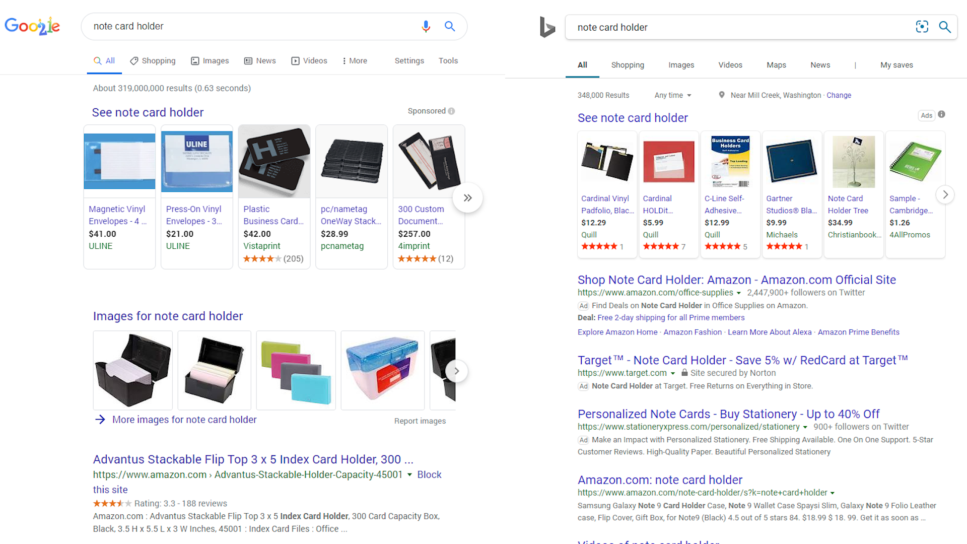 Index Card Holder Search Results on Google and Bing