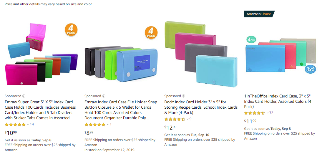 Neon Colored 3x5 Index Card Holder Cases