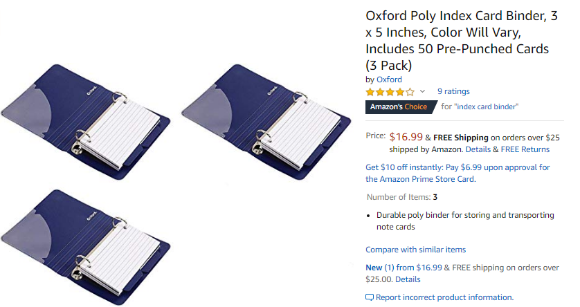 Oxford Mini 3x5 Inch Index Card Binder
