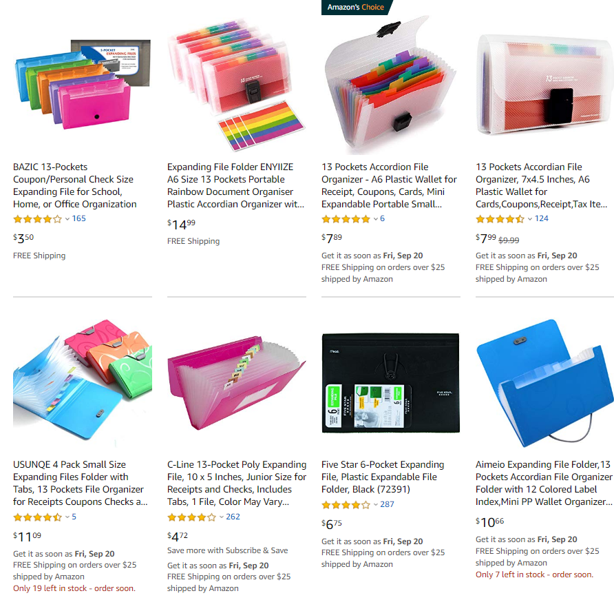 Plastic Accordion Index Card File Folders on Amazon