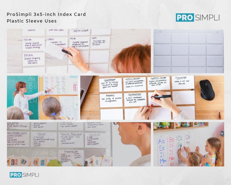 ProSimpli 3x5-inch Index Card Plastic Sleeve Uses