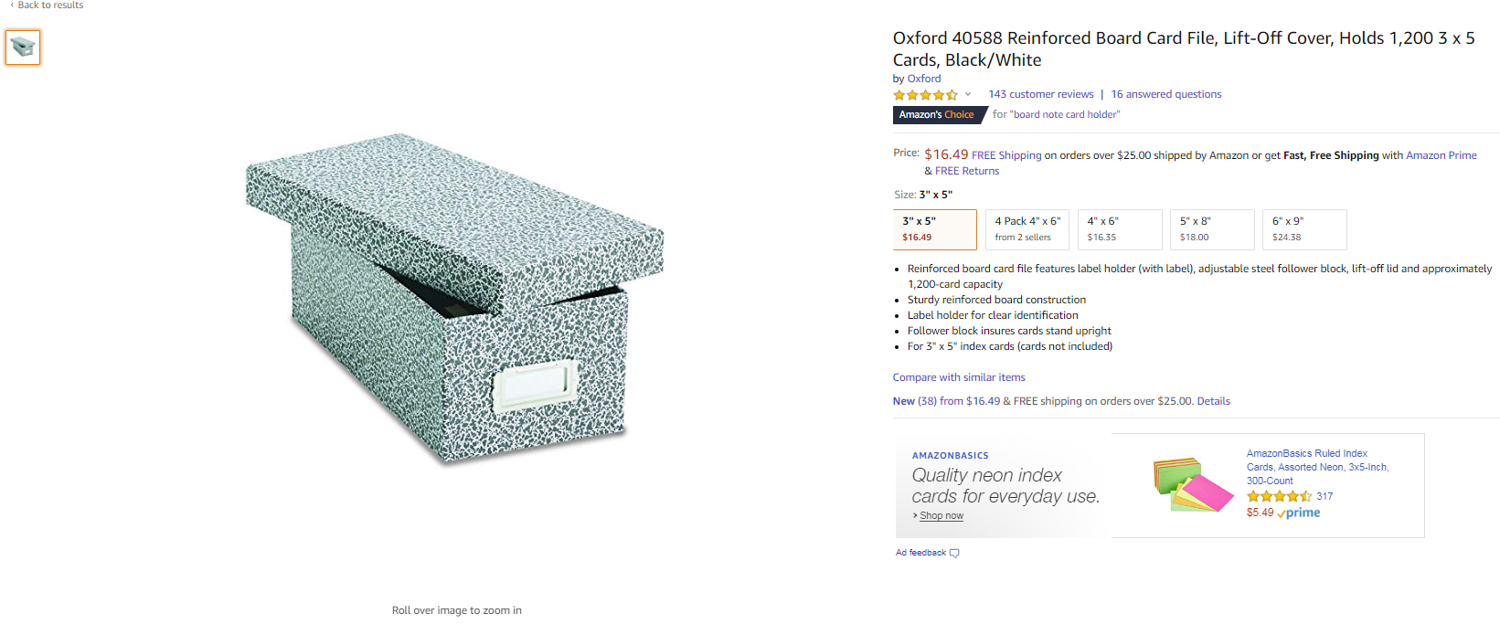 Oxford Board Note Card Box With Pattern Design