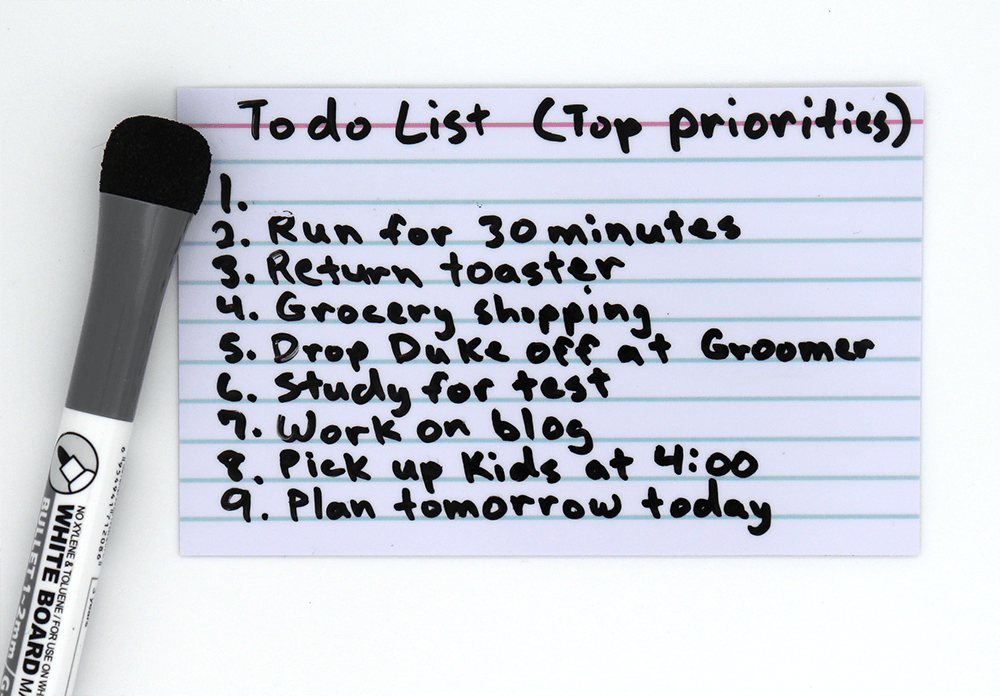 To-Do List Using ProSimpli Reusable Index Cards Completed