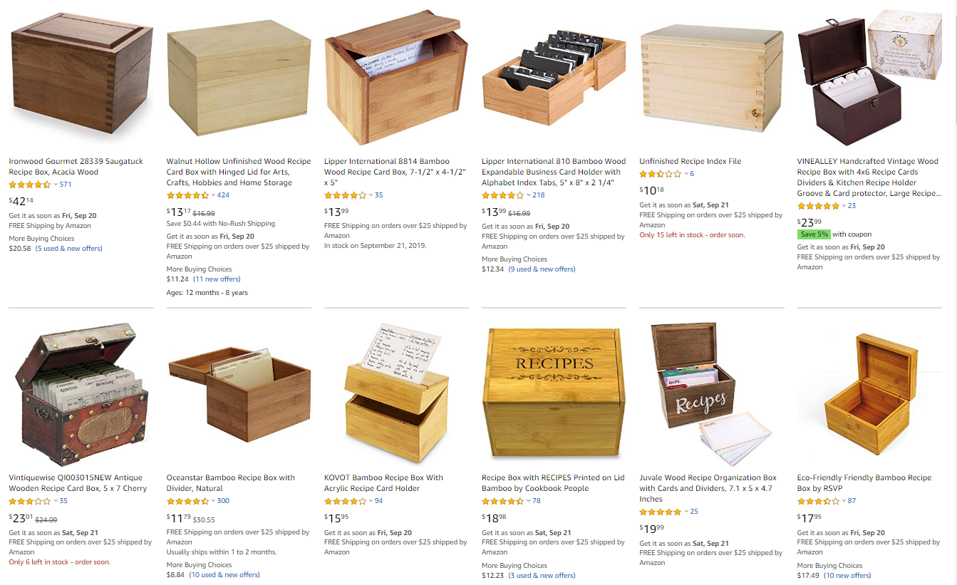 Wooden Recipe Boxes At Amazon