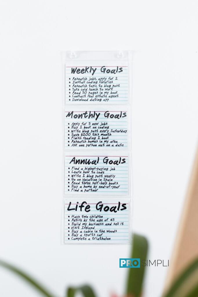 4x6 Index Card Goals and Motivation