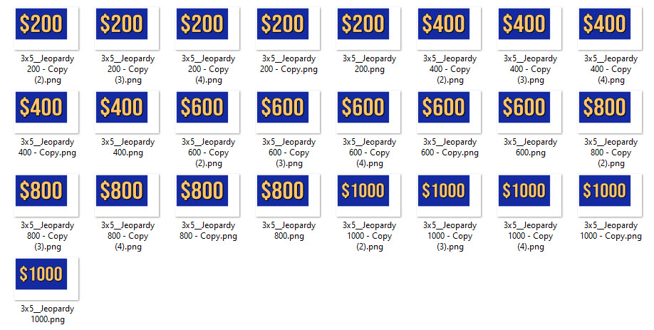 Jeopardy game cards