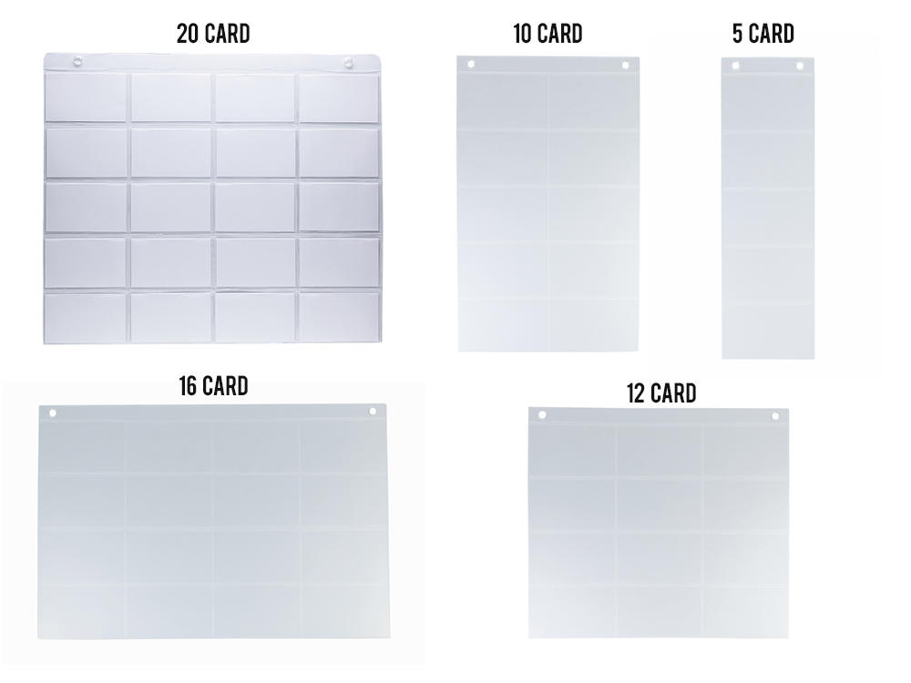 Five Different ProSimpli Index Card Sleeve Sizes